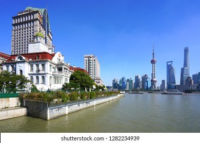 SHANGHAI, CHINA -26 OCTOBER 2018- View of the Consulate-General of the Russian Federation in Shanghai, located in a historic building on the Bund in Shanghai, China, on the bank of the Pu River.