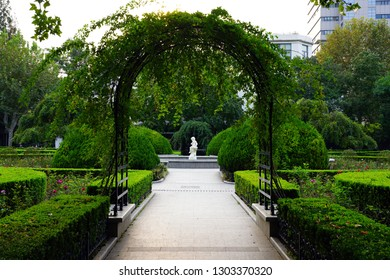SHANGHAI, CHINA -27 OCT 2018- View of Fuxing Park,  a landmark urban park located in the former French Concession of Shanghai, China, in Luwan District near Nanchang Road.