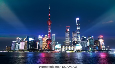 Shanghai, China - 4 Oct 2018: Long October vacation day of the long holidays in Shanghai on October, the streets of Shanghai, China