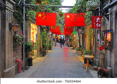 SHANGHAI, CHINA -7 NOV 2017- View of Tianzifang (Tianzi Fang), a popular tourist arts and crafts enclave in the former French Concession, Shanghai, China. Shanghai is the largest Chinese city.