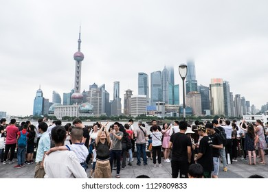 Shanghai, China: 7th July 2018- Shanghai is one of the most populous city in the world.  It is also a global financial center with the world's busiest port.
