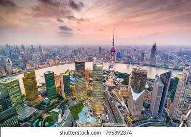 Shanghai, China aerial cityscape over the Pudong District.