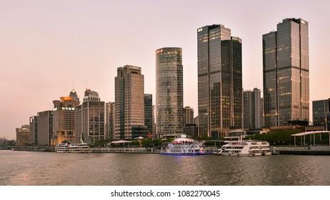 Shanghai, China - Apr. 24, 2018: Shanghai high rise buildings at sundown, Shanghai, China.