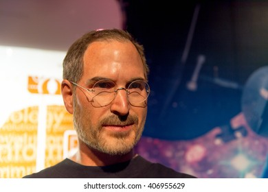 SHANGHAI, CHINA - APR 3, 2016: Steve Jobs at the Shanghai Madame Tussauds wax museum. Marie Tussaud was born as Marie Grosholtz in 1761