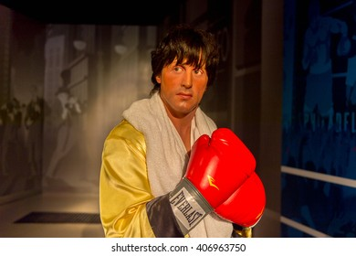 SHANGHAI, CHINA - APR 3, 2016:  Sylvester Stellone as Rocky Balboa at the Shanghai Madame Tussauds wax museum. Marie Tussaud was born as Marie Grosholtz in 1761