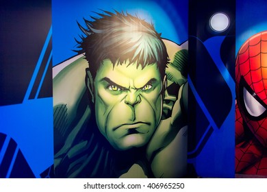 SHANGHAI, CHINA - APR 3, 2016: Hulk illustration at the Shanghai Madame Tussauds wax museum. Marie Tussaud was born as Marie Grosholtz in 1761