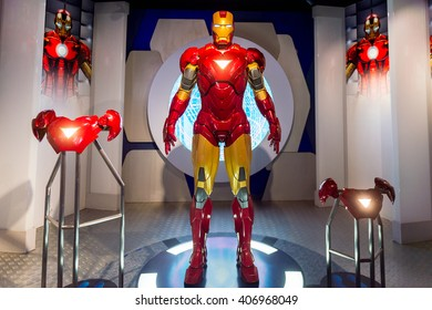 SHANGHAI, CHINA - APR 3, 2016: Iron Man at the Shanghai Madame Tussauds wax museum. Marie Tussaud was born as Marie Grosholtz in 1761