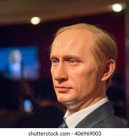 SHANGHAI, CHINA - APR 3, 2016: Vladimir Putin, President of Russia, at the Shanghai Madame Tussauds wax museum. Marie Tussaud was born as Marie Grosholtz in 1761