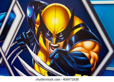 SHANGHAI, CHINA - APR 3, 2016: Wolverine illustration at the Shanghai Madame Tussauds wax museum. Marie Tussaud was born as Marie Grosholtz in 1761