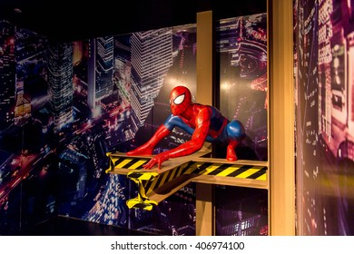 SHANGHAI, CHINA - APR 3, 2016: Spider man (Spiderman) at the Shanghai Madame Tussauds wax museum. Marie Tussaud was born as Marie Grosholtz in 1761