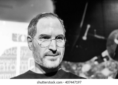 SHANGHAI, CHINA - APR 3, 2016: Steve Jobs in black and white at the Shanghai Madame Tussauds wax museum.He is the co-founder of Apple Inc