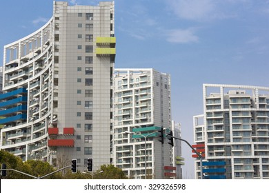 SHANGHAI, CHINA, APRIL 1: White new residential buildings with colored balconies, Shanghai, China 2013.