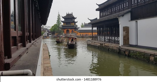 SHANGHAI / CHINA - April 13, 2019: Life style in Zhu Jia Jiao, Chinese ancient town