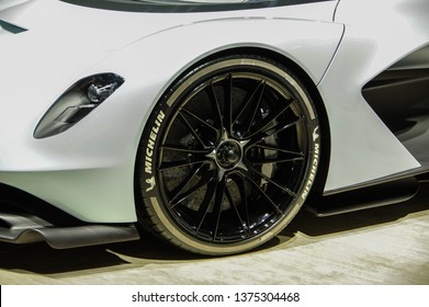 Shanghai, China - April 16 2019: Aston Martin AM-RB 003 concept hypercar displayed at 18th Shanghai International Automobile Industry Exhibition