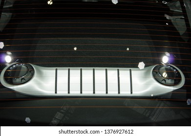 Shanghai, China - April 16th 2019: 18th Shanghai International Automobile Industry Exhibition Porsche cayman rear engine hatch