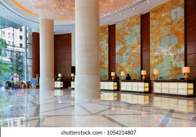 Shanghai, China - April 23, 2017: The lobby of Shanghai Marriott Hotel City Centre. The hotel is a high end luxury hotel near the famous Bund.