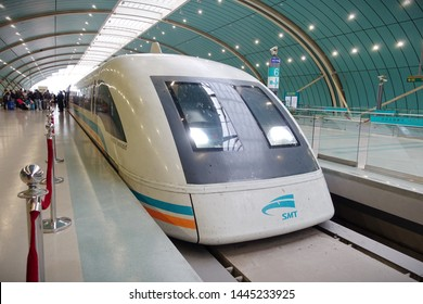 Shanghai, China - April 27, 2019: A Maglev train sits at a station in the city centre on the airport link line.