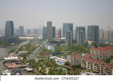 Shanghai, China - April 28 2011: Aerial view of the Luwan district and Huangpu River waterfront