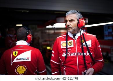 Shanghai, China - April 6-9, 2017:  Maurizio Arrivabene, team principal of the Scuderia Ferrari F1 Team at Formula One Chinese Grand Prix at Shanghai Circuit.
