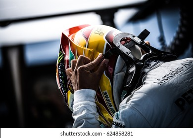 Shanghai, China - April 6-9, 2017: Lewis Hamilton driver of Mercedes AMG F1 Team at boxes at Formula One Chinese Grand Prix at Shanghai Circuit.
