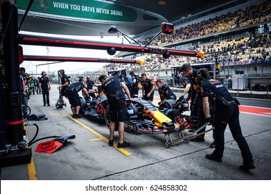 Shanghai, China - April 6-9, 2017: F1 pit stop Red Bull Racing Team at Formula One Chinese Grand Prix at Shanghai Circuit.