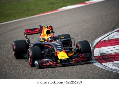 Shanghai, China - April 8, 2017: Max Verstappen, young driver Red Bull Racing F1 Team on track at Formula One Chinese Grand Prix at Shanghai Circuit.