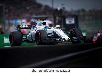Shanghai, China - April 8, 2017: Felipe Massa driver of Williams Martini F1 Racing at Formula One Chinese Grand Prix at Shanghai Circuit.