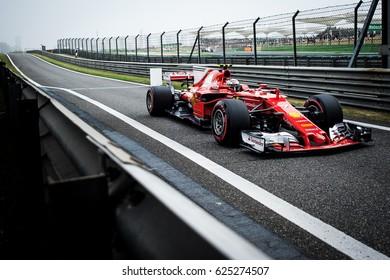 Shanghai, China - April 8, 2017: Kimi Raikkonen driver of Scuderia Ferrari F1 Team at Formula One Chinese Grand Prix at Shanghai Circuit.