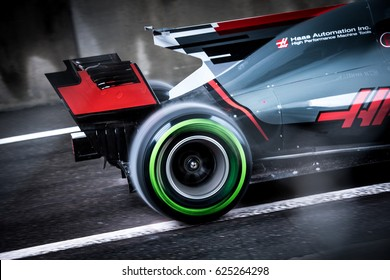 Shanghai, China   April 9, 2017: F1 Racing Pirelli Tyre Intermediate On HAAS