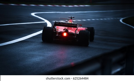 Shanghai, China - April 9, 2017: dark photo of Kimi Raikkonen driver of Scuderia Ferrari F1 Team at Formula One Chinese Grand Prix at Shanghai Circuit.