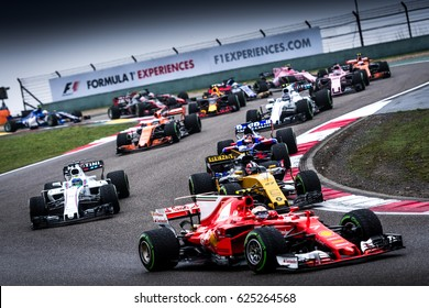Shanghai, China - April 9, 2017: start the F1 race at Formula One Chinese Grand Prix at Shanghai Circuit.