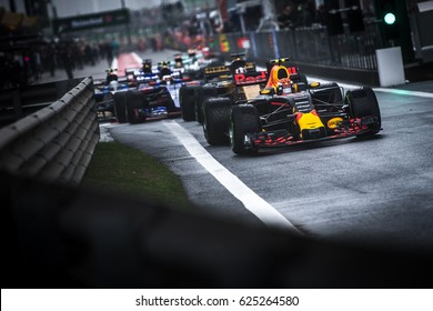 Shanghai, China - April 9, 2017: F1 racing car leave pitlane to the track before the race at Formula One Chinese Grand Prix at Shanghai Circuit.