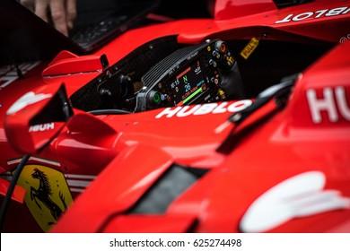 Shanghai, China - April 9, 2017:  Sebastian Vettel steering wheel Scuderia Ferrari F1 Team at Formula One Chinese Grand Prix at Shanghai Circuit.