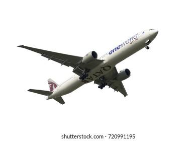SHANGHAI, CHINA, April 2? 2015?Qatar Airways  Boeing 777 flying in the sky.