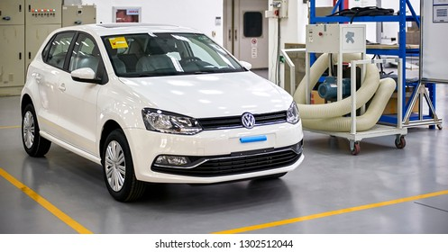Shanghai, China, Asia - January 13, 2016: A Volkswagen Polo car is parked at Volkswagen's automobile factory in Shanghai, waiting for comprehensive testing by Asian engineers.