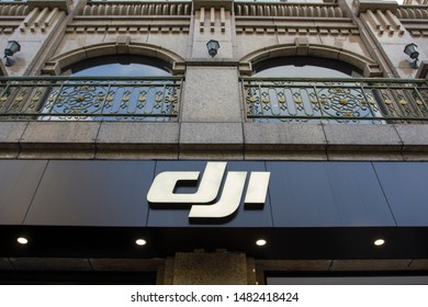 Shanghai, China - Aug 19, 2019: The DJI logo at a DJI store in downtown Shanghai. DJI is a Chinese technology company known as a manufacturer of unmanned aerial vehicles.