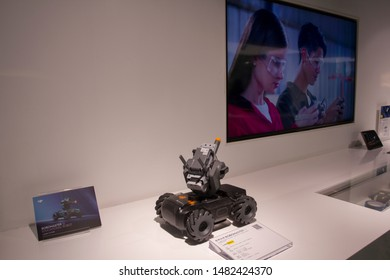 Shanghai, China - Aug 19, 2019: DJI's Robomaster S1 educational robot on display at a DJI store in downtown Shanghai.