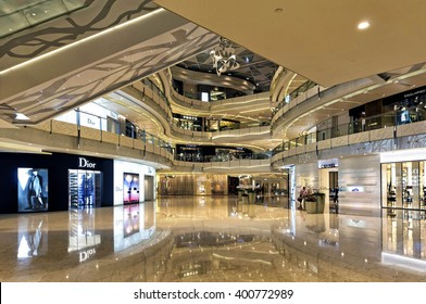 Shanghai, China - August 16, 2011: View of Shanghai IFC Mall interior. IFC, located in Pudong area, is one of the foremost luxury shopping destinations in the world  and offer the best luxury brand.