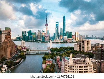 Shanghai, China - August 8, 2019: Shanghai skyline aerial view with amazing skyscrapers rising above Haungpu river in China