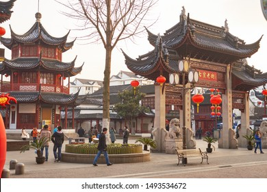 SHANGHAI, CHINA - CIRCA FEBRUARY, 2013: Chinese style buildings seen in Shanghai.