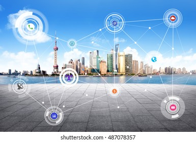 Shanghai China city scape and network connection concept