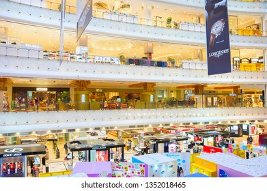 SHANGHAI, CHINA - Dec 28, 2016: People at the New World shopping mall in Shanghai