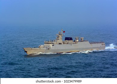 "SHANGHAI, CHINA - Dec 31, 2017: New guided missile Type 056A (NATO reporting name: Jiangdao) Chinese People's Liberation Army Navy corvette ""Zhuzhou"" with Pennant No. 594 at sea."
