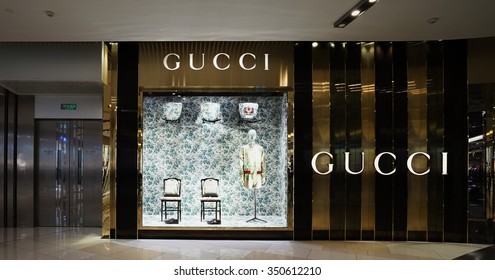 SHANGHAI, CHINA - Dec.6, 2015: Gucci store. Gucci is an Italian fashion and leather goods brand was founded by Guccio Gucci in Florence in 1921. Gucci has about 425 stores worldwide.