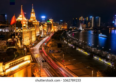 """Shanghai, China - December, 2017 :Nightscape of Shanghai """"The Bund"""". The Bund in Shanghai  is a waterfront area in central Shanghai."""