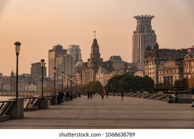 "Shanghai, China - December, 2017 : Shanghai Waitan ""The Bund"" in the morning. The Bund  or Waitan in Shanghai  is a waterfront area in central Shanghai."