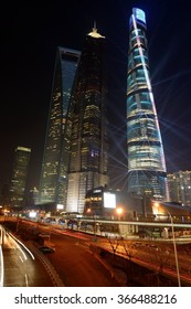 Shanghai, China - December 23, 2014: Colorful night view of three tallest buildings, Shanghai Tower, Jin Mao Tower, and Shanghai World Financial Center, in Lujiazui Pudong New Area.