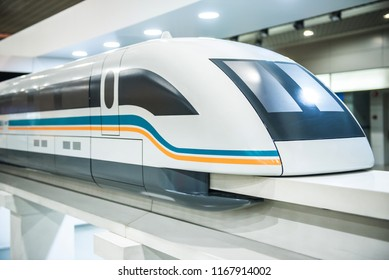 SHANGHAI, CHINA - December 29 2017: Shanghai Maglev Train Model. The line is the first commercially operated high-speed magnetic levitation line in the world.
