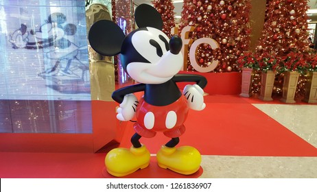 Shanghai / China - December 6 2018: Mickey Mouse in IFC Shopping Mall, Shanghai