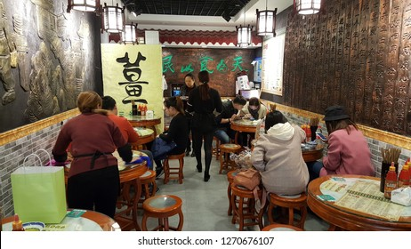 Shanghai / China - December 9 2018: Interior of small food stall